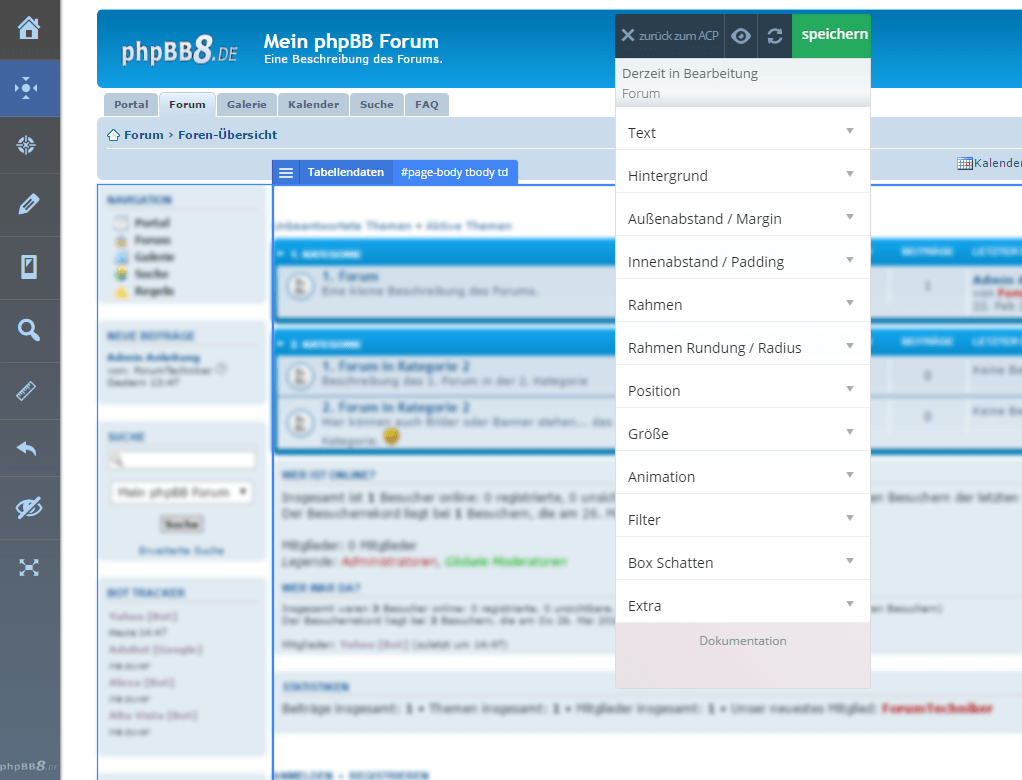 offen › Testphase: Visual Editor ~ CSS Editor : phpBB3
